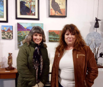 <p>Girlfriends checking out the art last night.</p>
