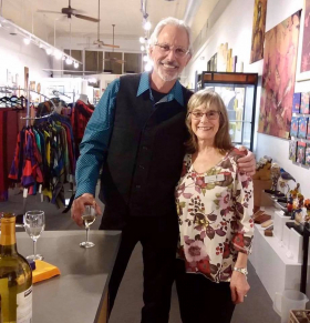 <p>Our remarkable mobile artist, Paul Landis with our lovely Joanne.</p>