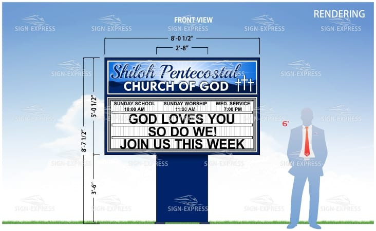 Lighted Outdoor Church Sign Design by Sign-Express