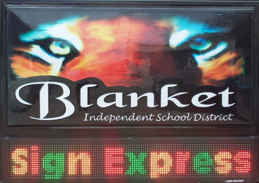 Tri-Color LED Signs Blanket ISD Blanket, TX