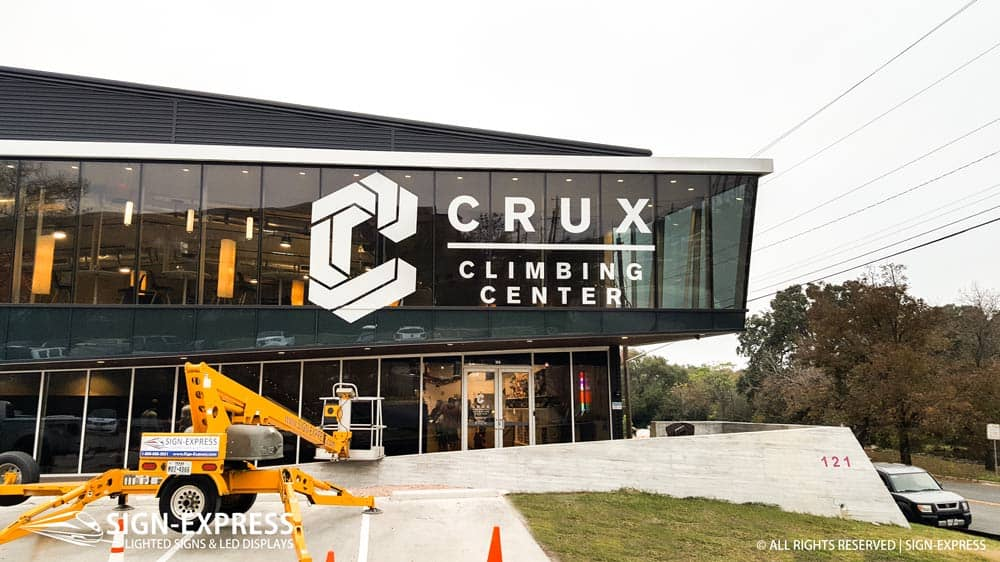 Crux Climbing Center Austin Texas Vinyl Letter Sign