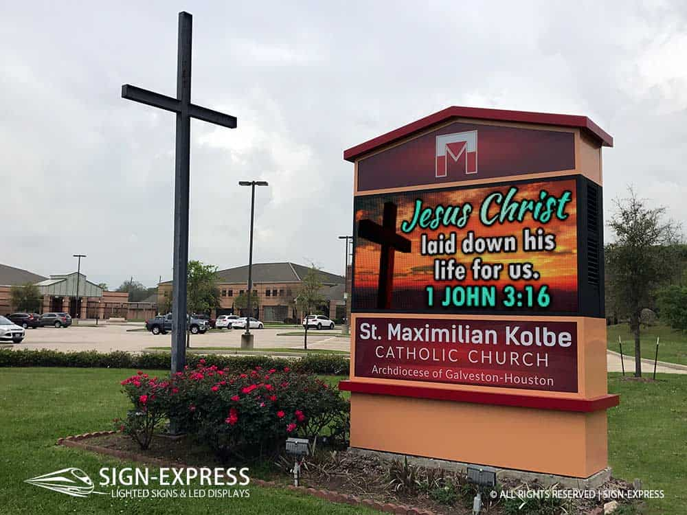 St-Maximilian-Kolbe-Catholic-Church-LED-Church-Sign-Houston-TX