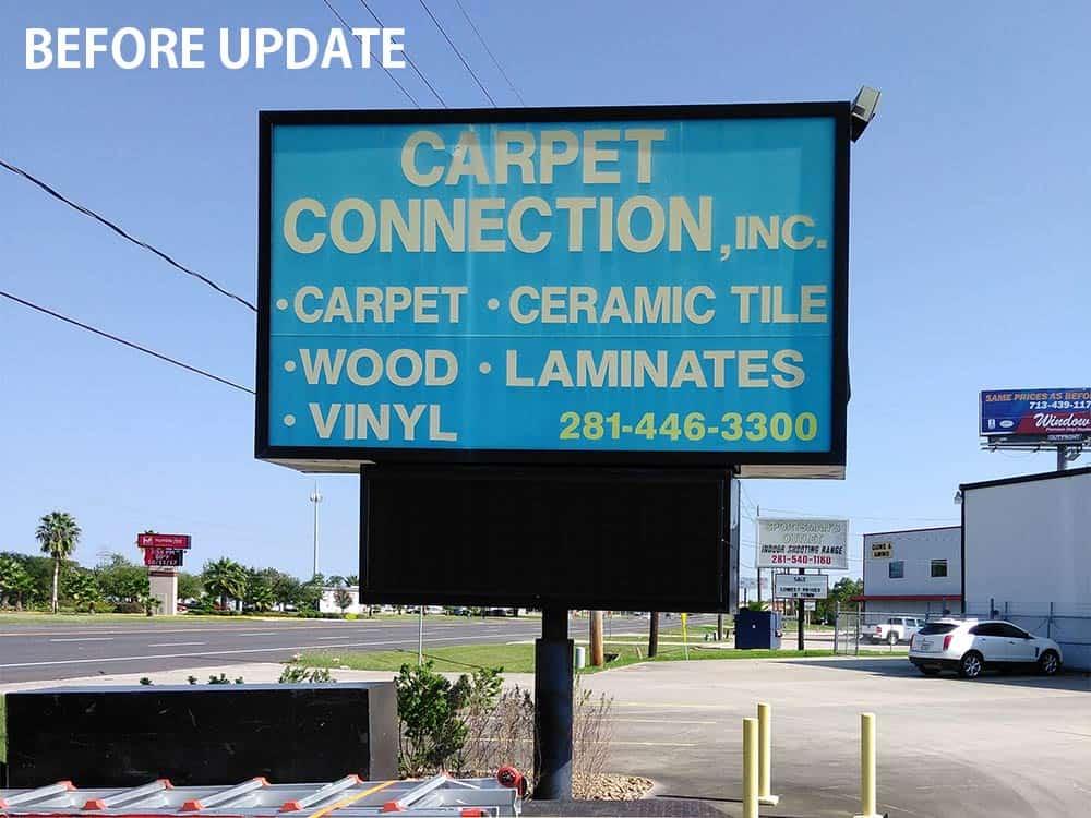 Carpet-Connection-LED-Retrofit-Sign-Renovation-Houston-Texas-BEFORE