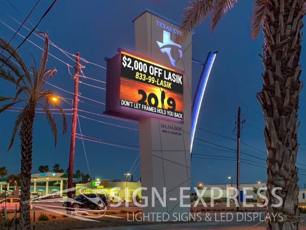 Texas Eye Care Custom Monument with LED Billboard & Building LED Lighting
