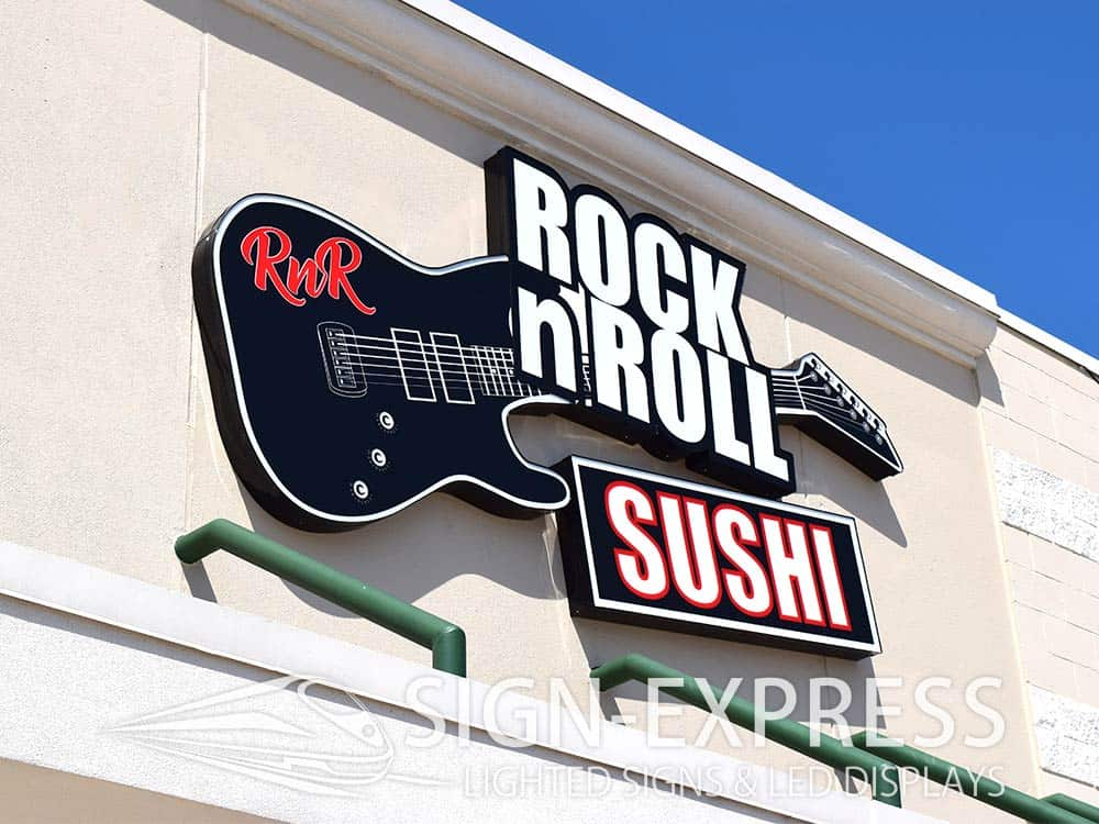 Rock N Roll Sushi Business Sign Installation