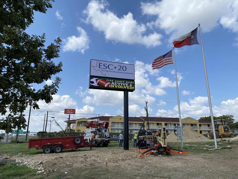Region 20 Center Sign Pylon with LED Display – San Antonio, TX