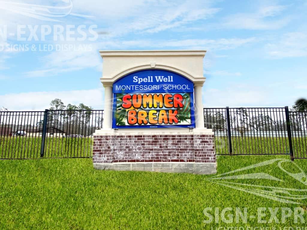 Spell Well Montessori School Sign Install