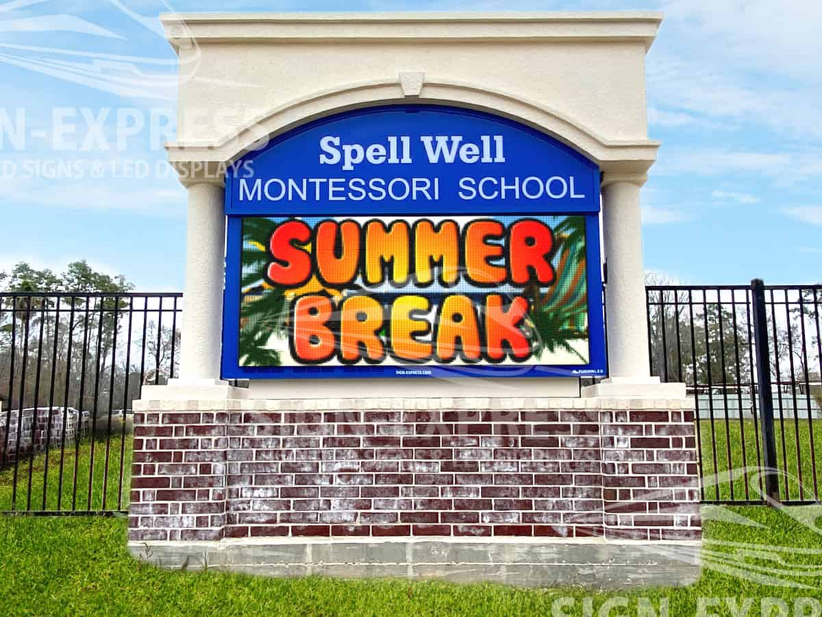 Spell Well Montessori School Sign Design