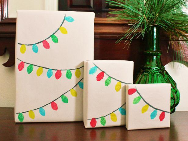 Draw Your Own Christmas Light Garland Gift Wrap