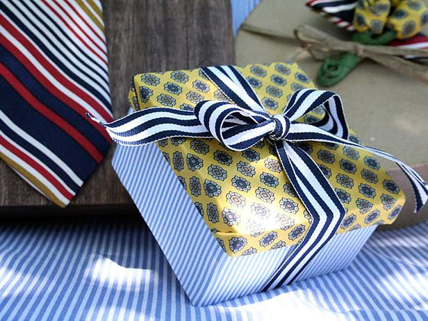 gift wrapping with thrift store clothes
