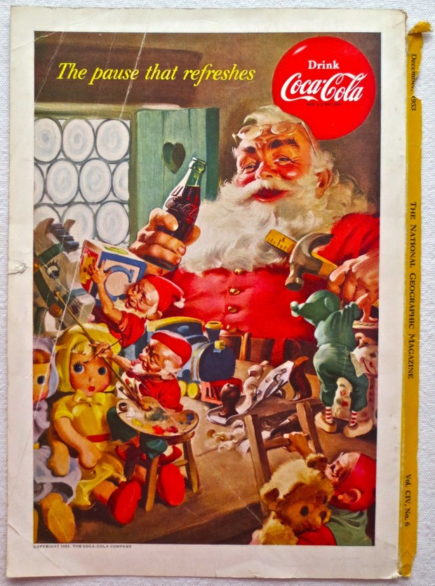 1953 Santa Claus Christmas 1950s Vintage Coca Cola Advertisement From National Geographic Back Page 24