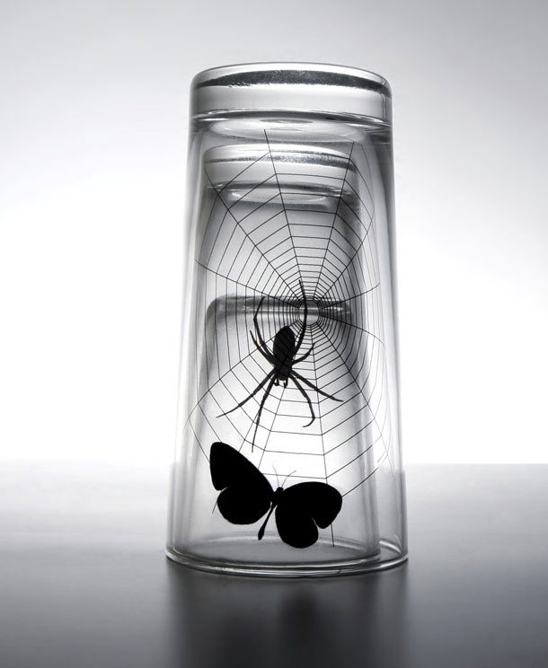butterfly and spider web glass set.2