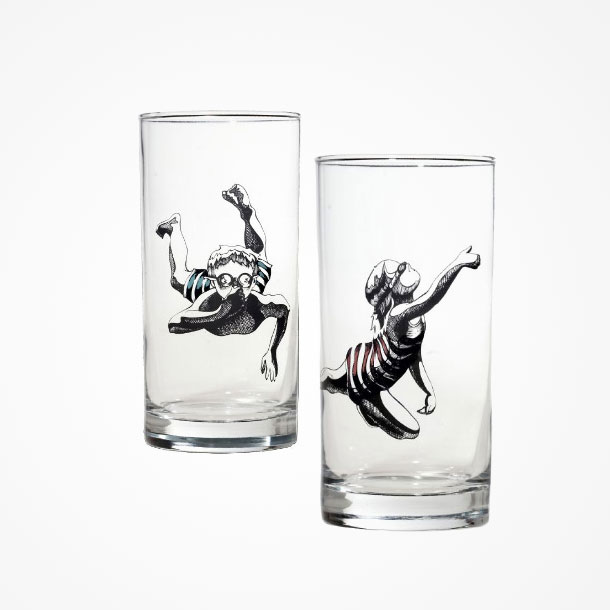glasses with swimmers