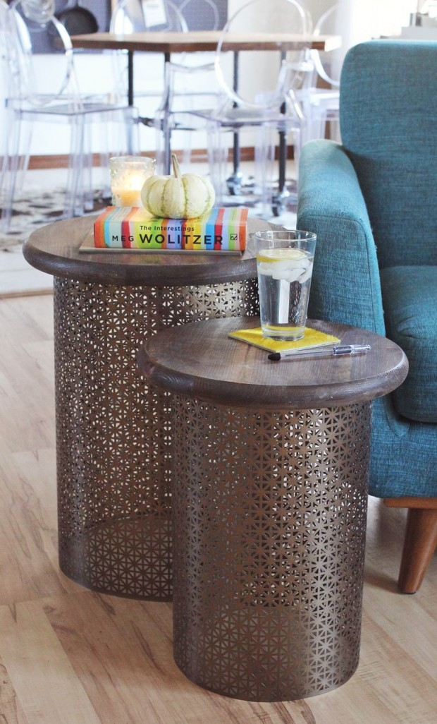 brass cylinder end table