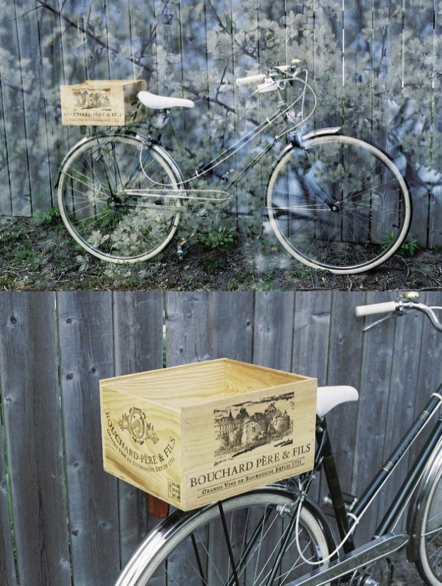 wood crate on bicycle