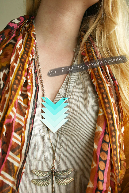 DIY Chevron Paint Chip Necklace