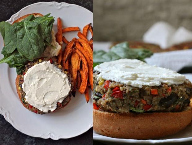 Quinoa-Veggie-Burgers-with-Whipped-Feta