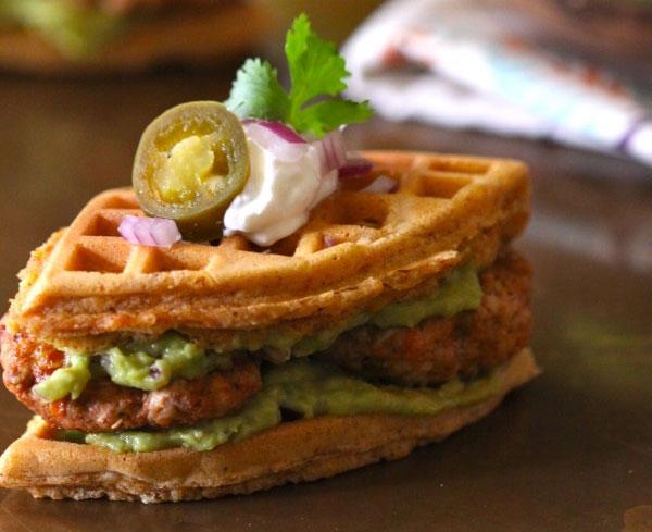 Spiced-Waffle-Chicken-Chorizo-Guacamole