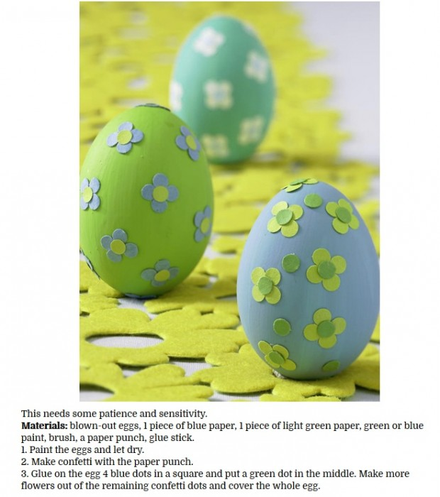 Decorate Easter Eggs with confetti flowers