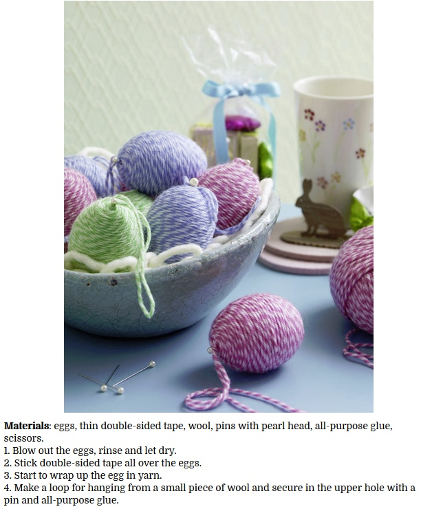 decorate Easter eggs with Yarn