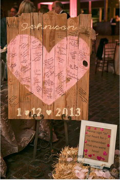 Wedding sign painted on reclaimed wood