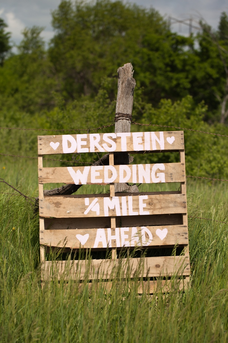 painted pallet wedding direction sign