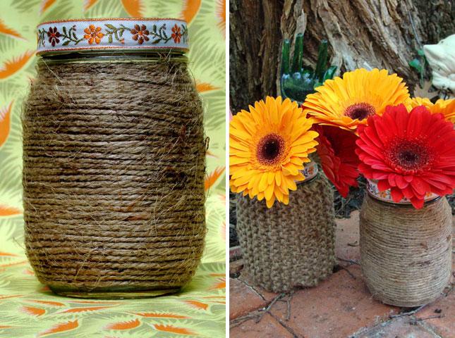 Twine-Wrapped Mason Jar Vases