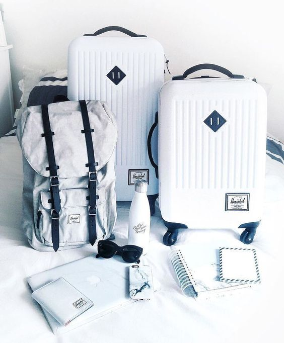 all white herschel luggage collection