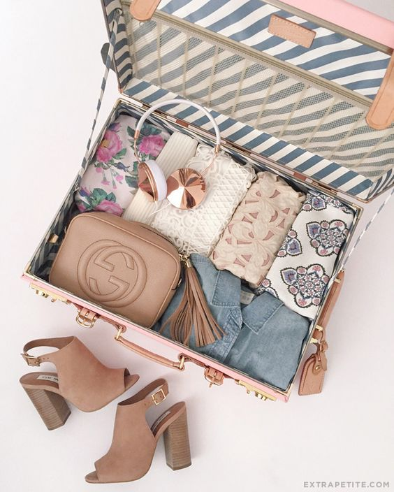 organized suitcase showing shoes and clothes