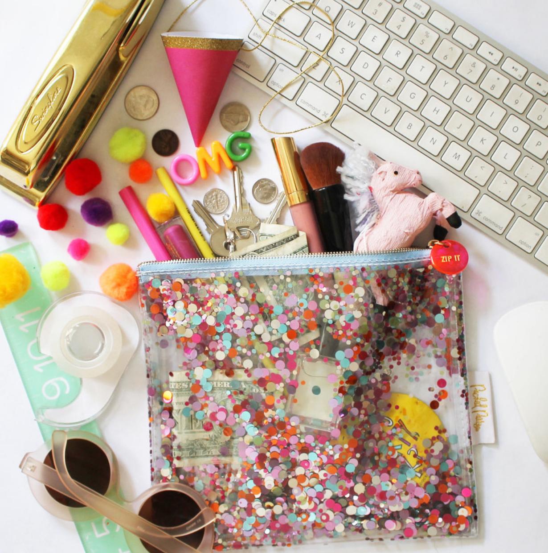 confetti see through makeup bag
