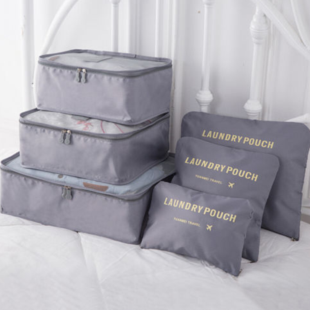 matching laundry bag set in gray