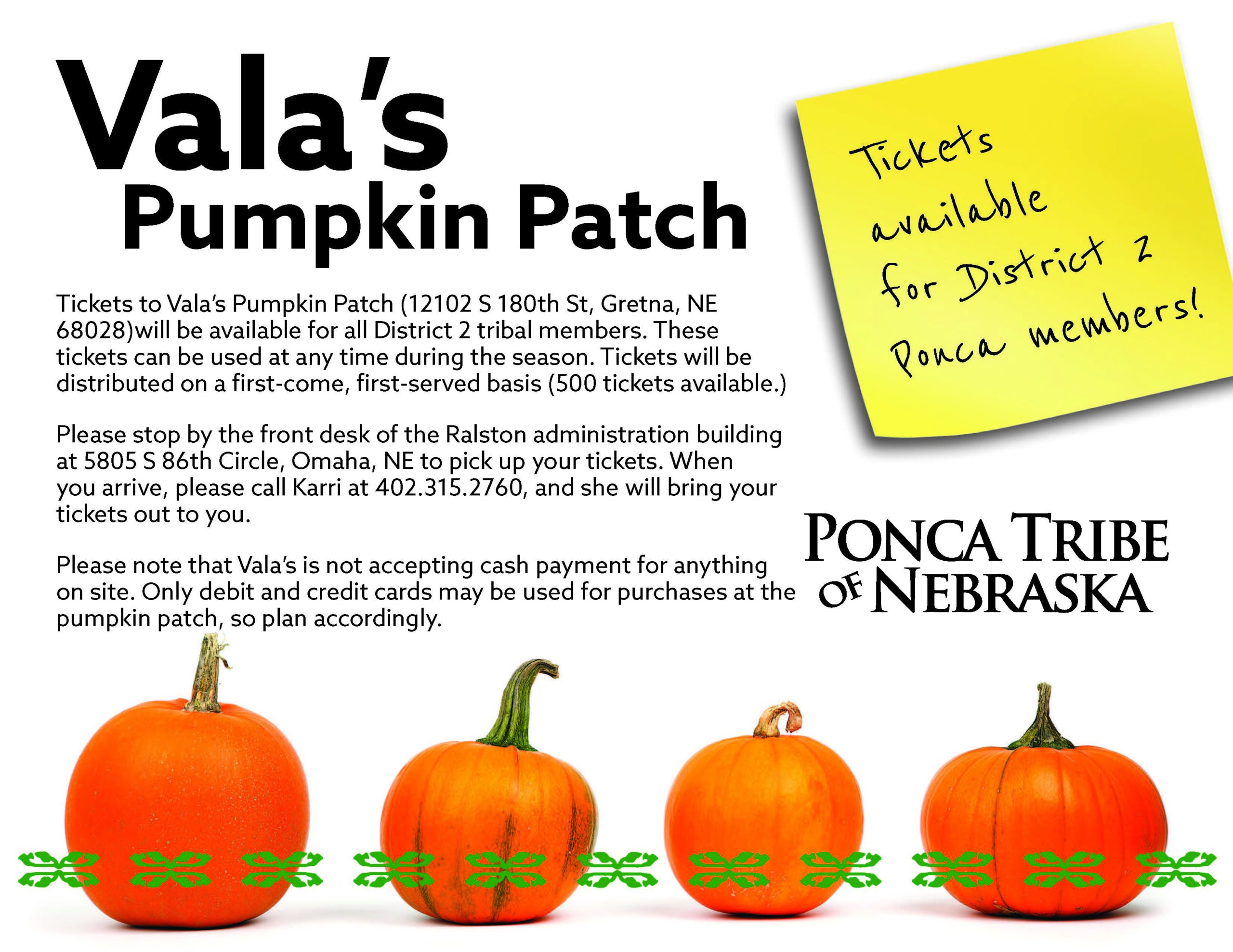 You are currently viewing District 2 Members: Vala's Pumpkin Patch Tickets Available