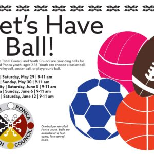 Youth Council handout of balls for Ponca youth