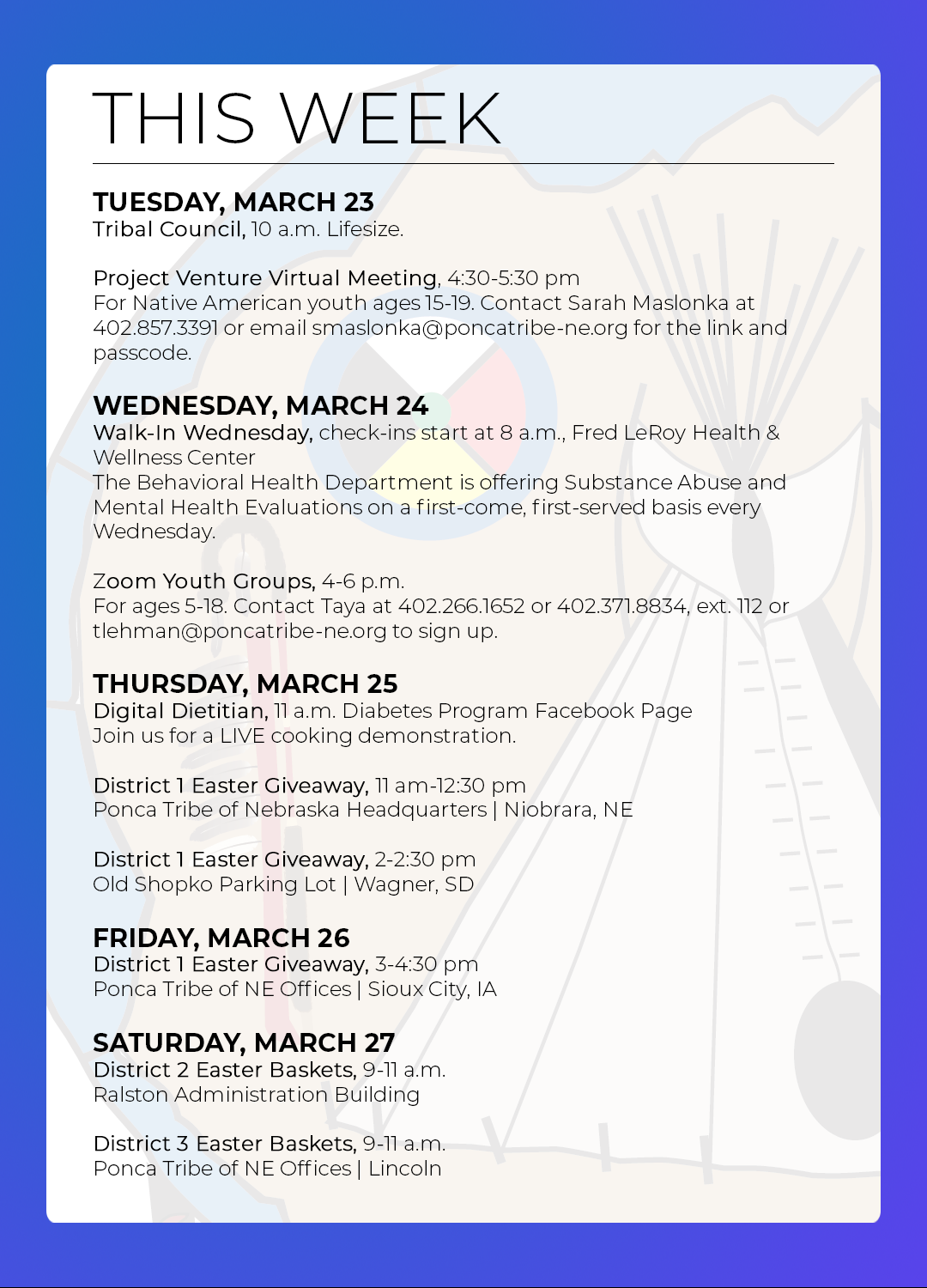 March 22-27: Events & Activities