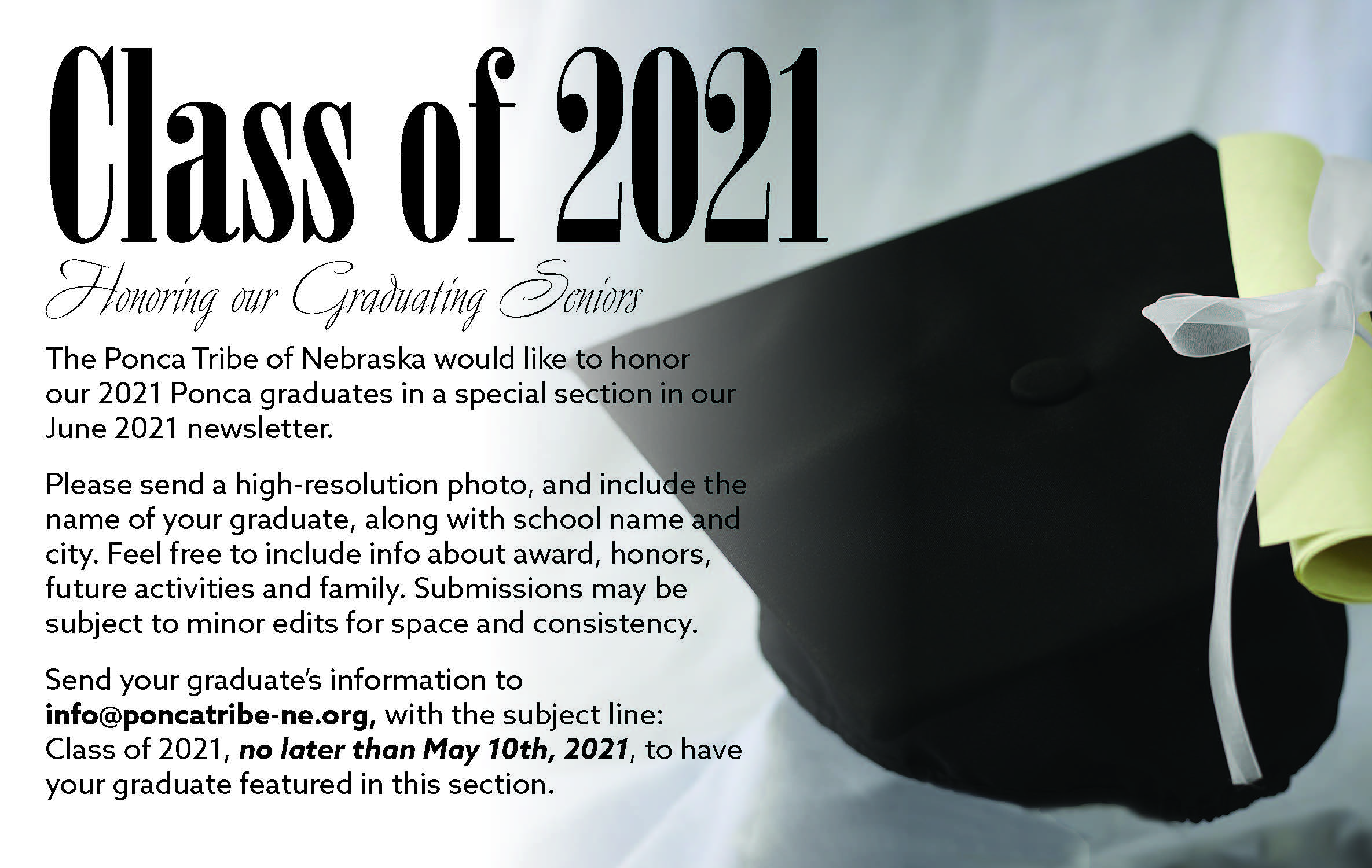 Deadline to Submit Graduate Info is May 10