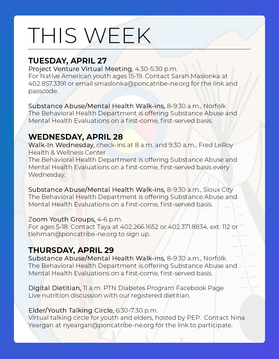 Events & Activities: April 25th – May 1st