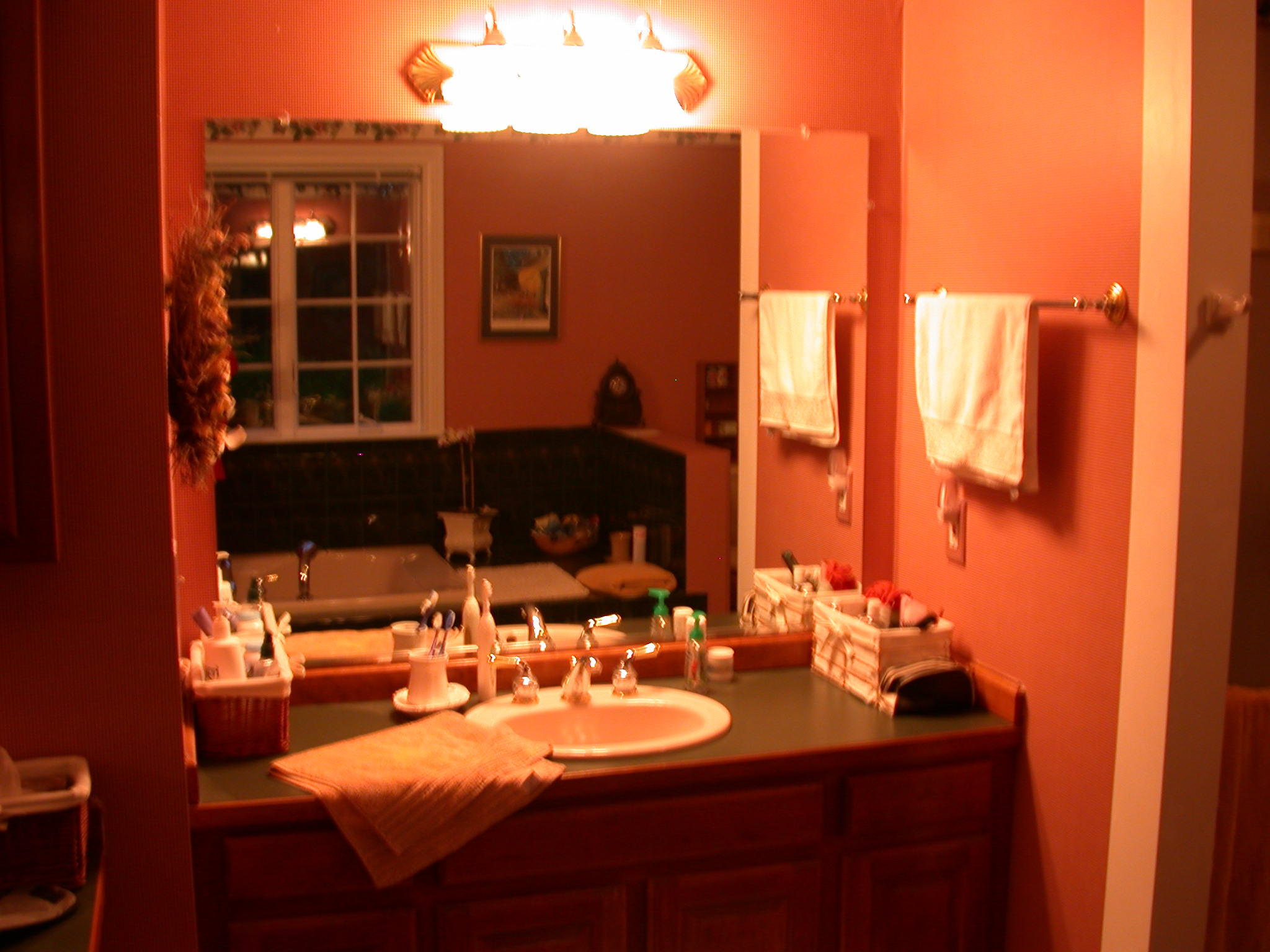 BEFORE: GREEN & PINK VANITY AREA