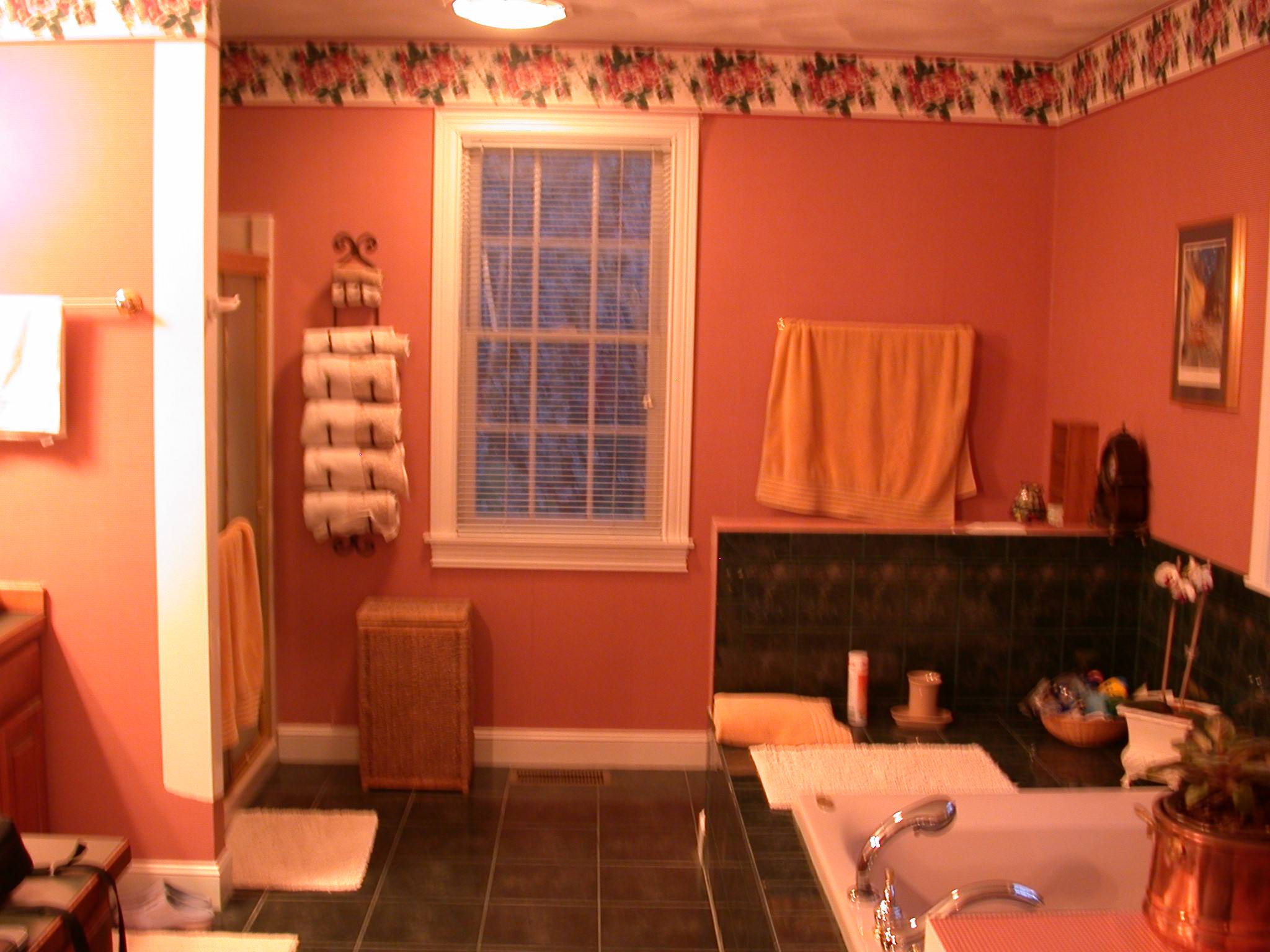 BEFORE: DATED GREEN & PINK BATHROOM