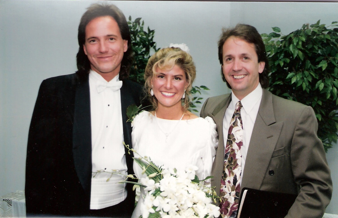 Pastor Keith and Christy with their Pastor, Bob Coy, on their wedding day at Calvary Chapel Ft. Laud., Fla.
