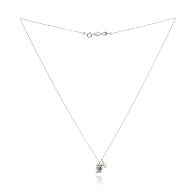 Photograpgh of full Sophie Lutz Silver Lovebirds Necklace