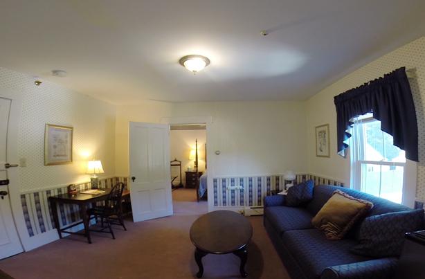living room of black river suite echo lake inn vermont