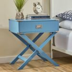 Modern 1-Drawer Bedroom Nightstand End Table in Blue FinishBACET519681