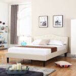 Queen size Ivory Linen Upholstered Platform Bed with Button-Tufted Headboard