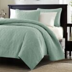 King size Seafoam Green Blue Coverlet Set with Quilted Floral PatternKSF98144581
