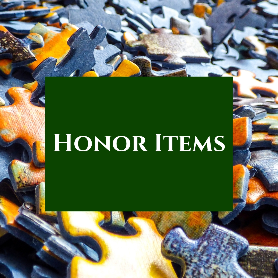 We offer a large selection of paperback books and puzzles to the public on the honor system.