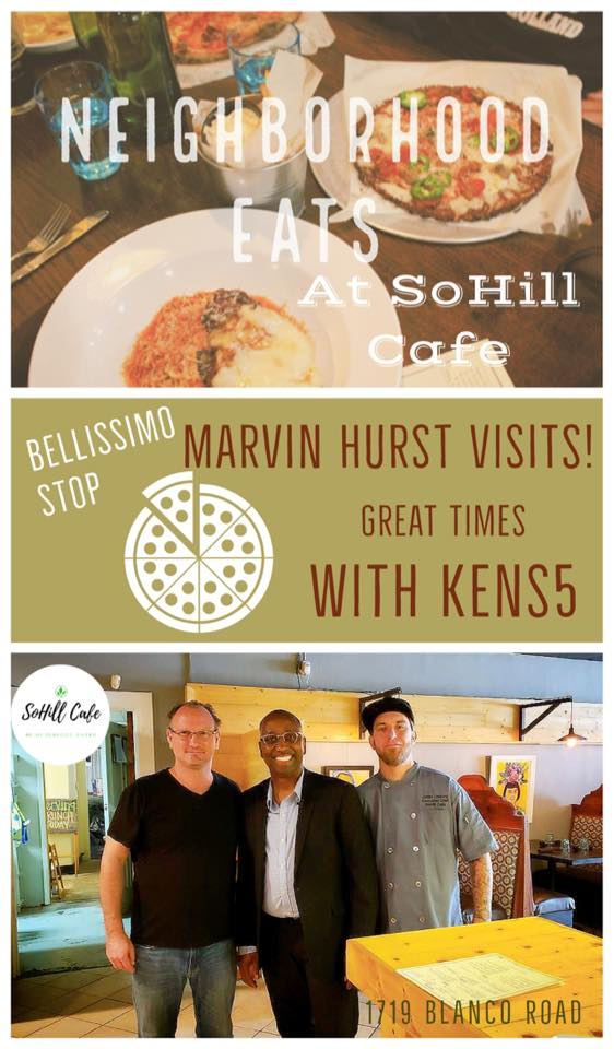 Marvin Hurst of Kens5 Drops by to Vote Yes to SoHill Cafe Pizzas