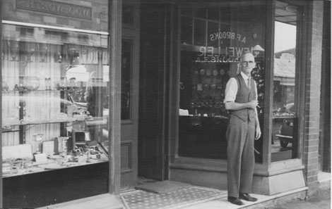 Arthur Brooks at the front of his well-known jeweller's store, Pacific Highway, Hornsby, Late 1940s (Source: Courtesy of Warwick and Leone Oliver, Hornsby Shire Recollects).