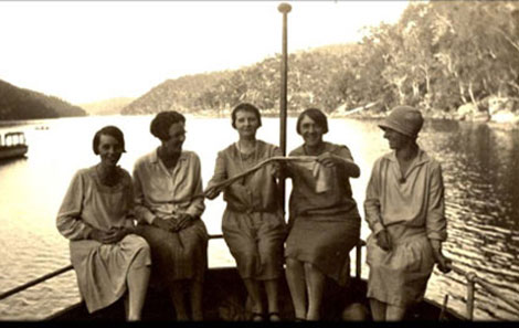 Launch at Windybank Wharf, Cowan Creek c1920 (Source: Hornsby Shire Recollects).