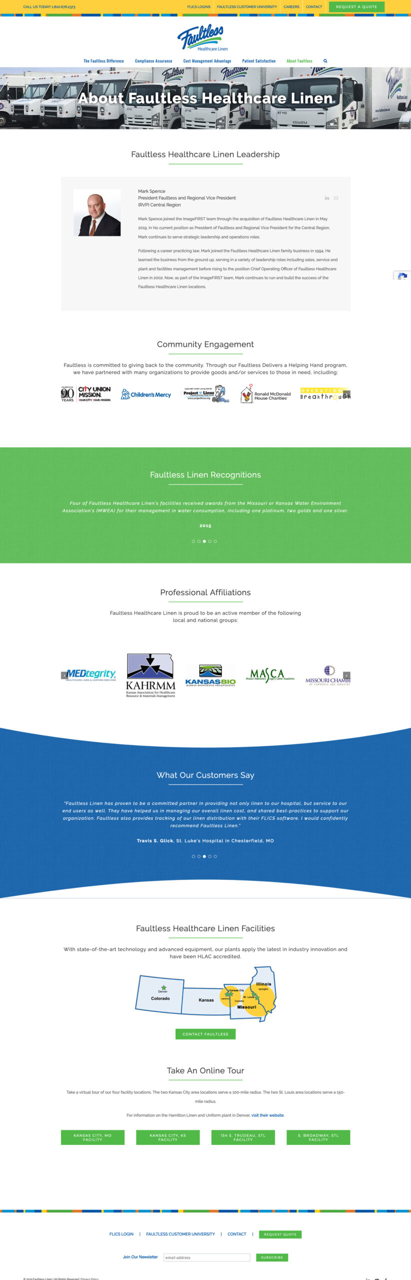 Company Website Design for Faultless Healthcare Linen - About Faultless Healtcare Linen