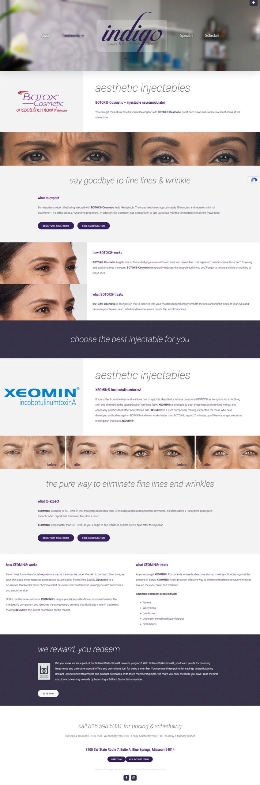 Small Business Website Design for Indigo Clinic